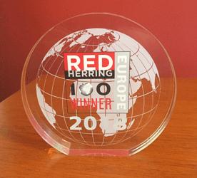 diplôme Red Herring vainqueur Top 100 Europe 2018 et award