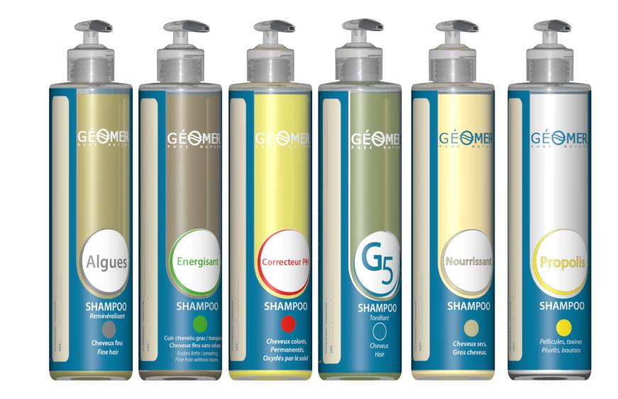 la gamme complète des shampoings Géomer