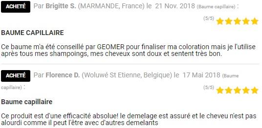 Avis client Baume Capillaire après shampoing du Laboratoire Géomer